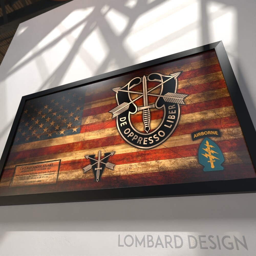 "5th SFG(A) Rustic Flag Plaque - 28.5""x15.75"""