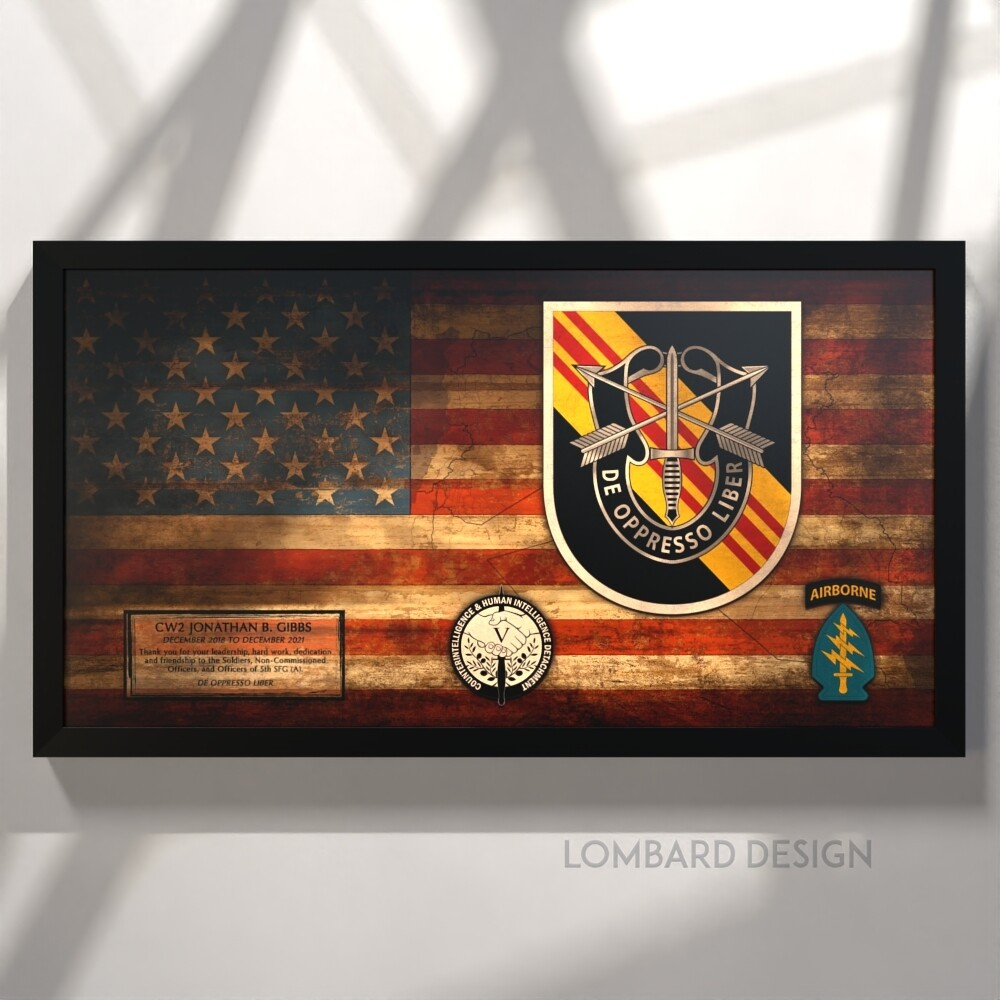 "5th SFG(A) Counterintelligence Rustic Flag Plaque - 28.5""x15.75"""