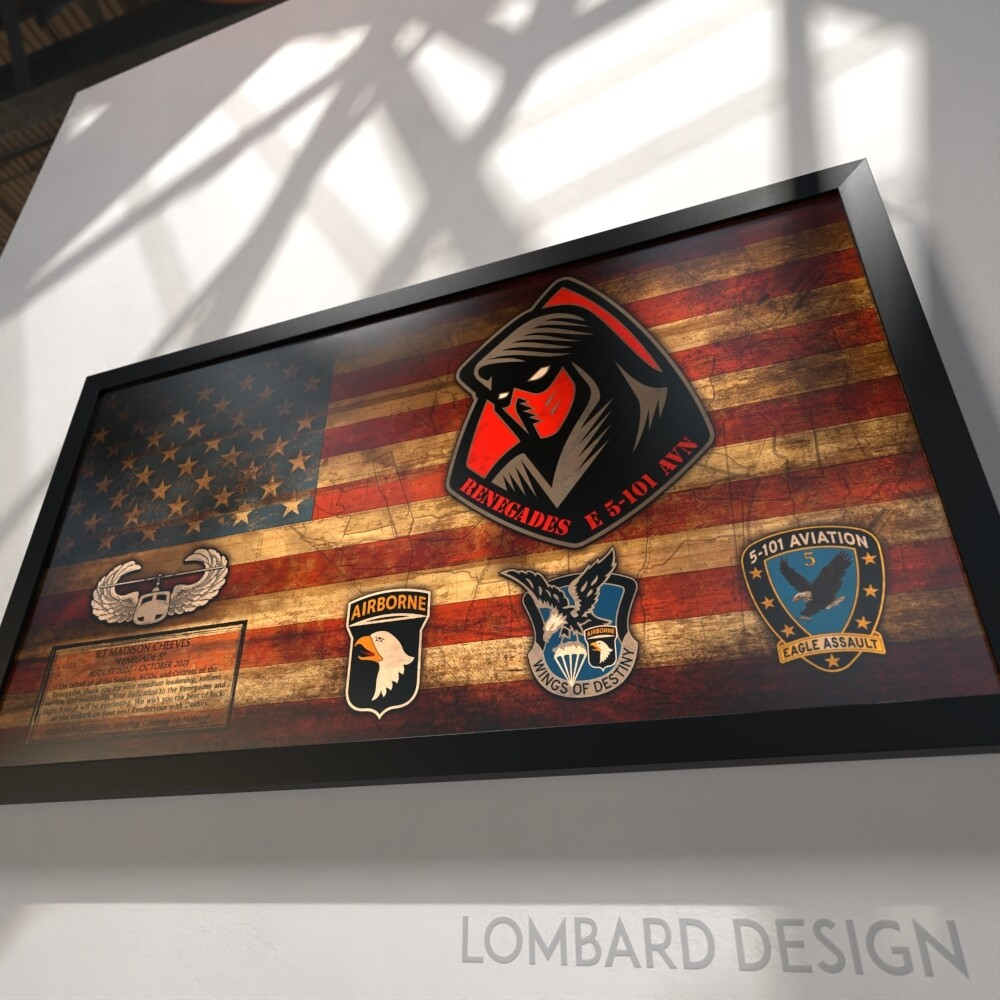 "E Co ""Renegades"" 5-101 AVN Rustic Flag Plaque - 28.5""x15.75"""