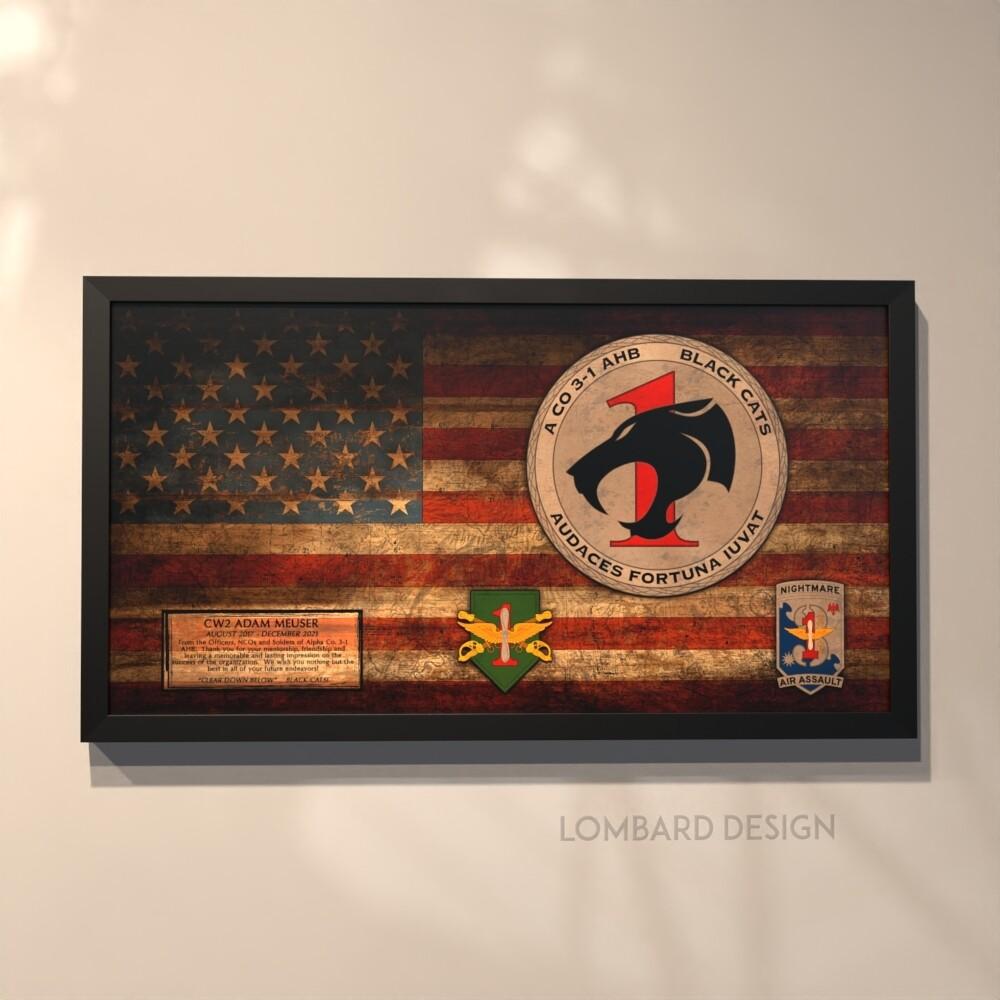 """A Co """"Black Cats"""" 3-1 AHB Rustic Flag Plaque - 28.5""""x15.75"""""""