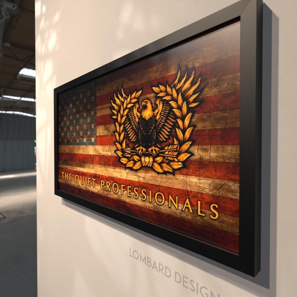 "Warrant Officer Crest Rustic Flag Plaque - 28.5""x15.75"""