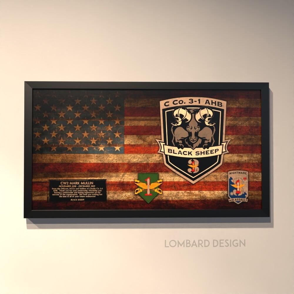 "C Co ""Black Sheep"" 3-1 AHB Rustic Flag Plaque - 28.5""x15.75"""