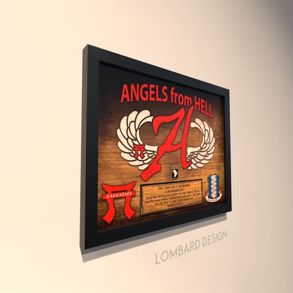 "Angel Company 3-187 INF Wood Plaque 11""x13"""