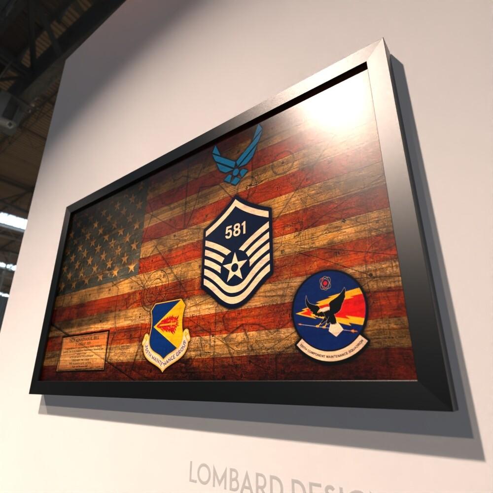 "355th Maintenance Group Rustic Flag Plaque - 28.5""x15.75"""
