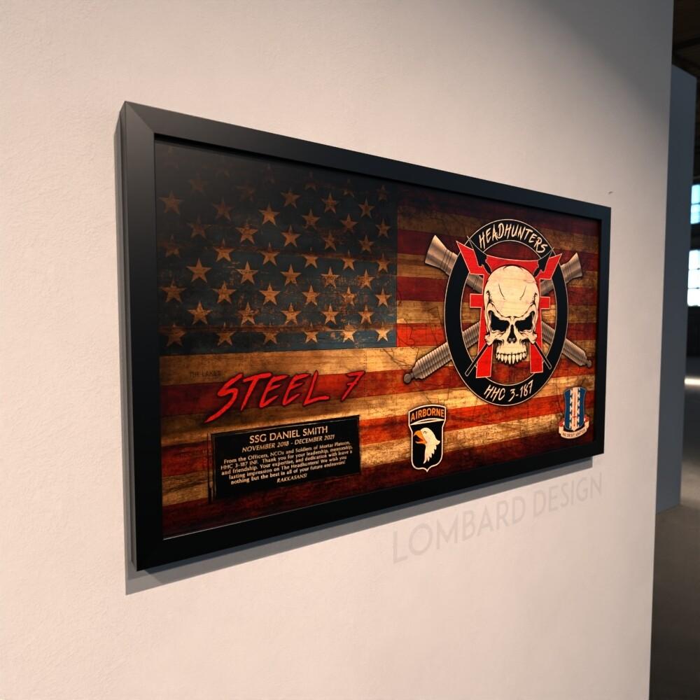 "Mortars HHC ""Headhunters"" 3-187 INF Rustic Flag Plaque - 28.5""x15.75"""