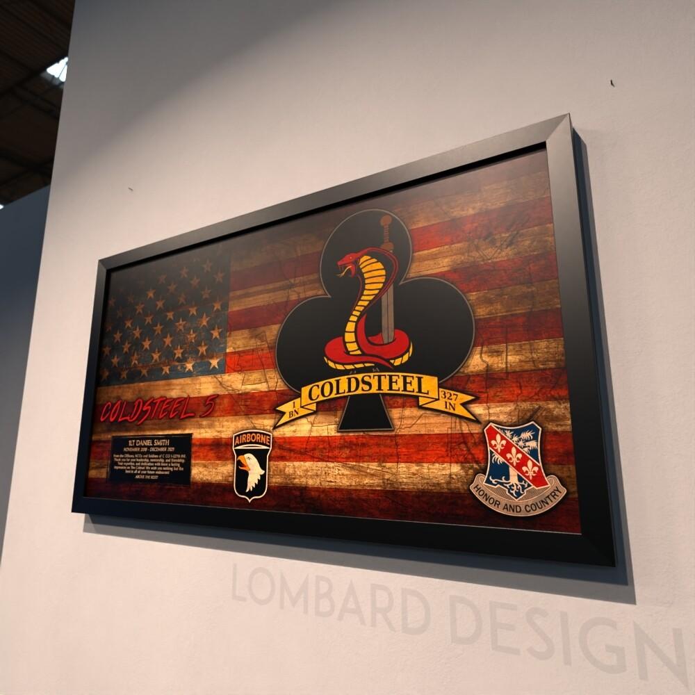 "C Co ""Coldsteel Cobra"" 1-327th INF Rustic Flag Plaque - 28.5""x15.75"""