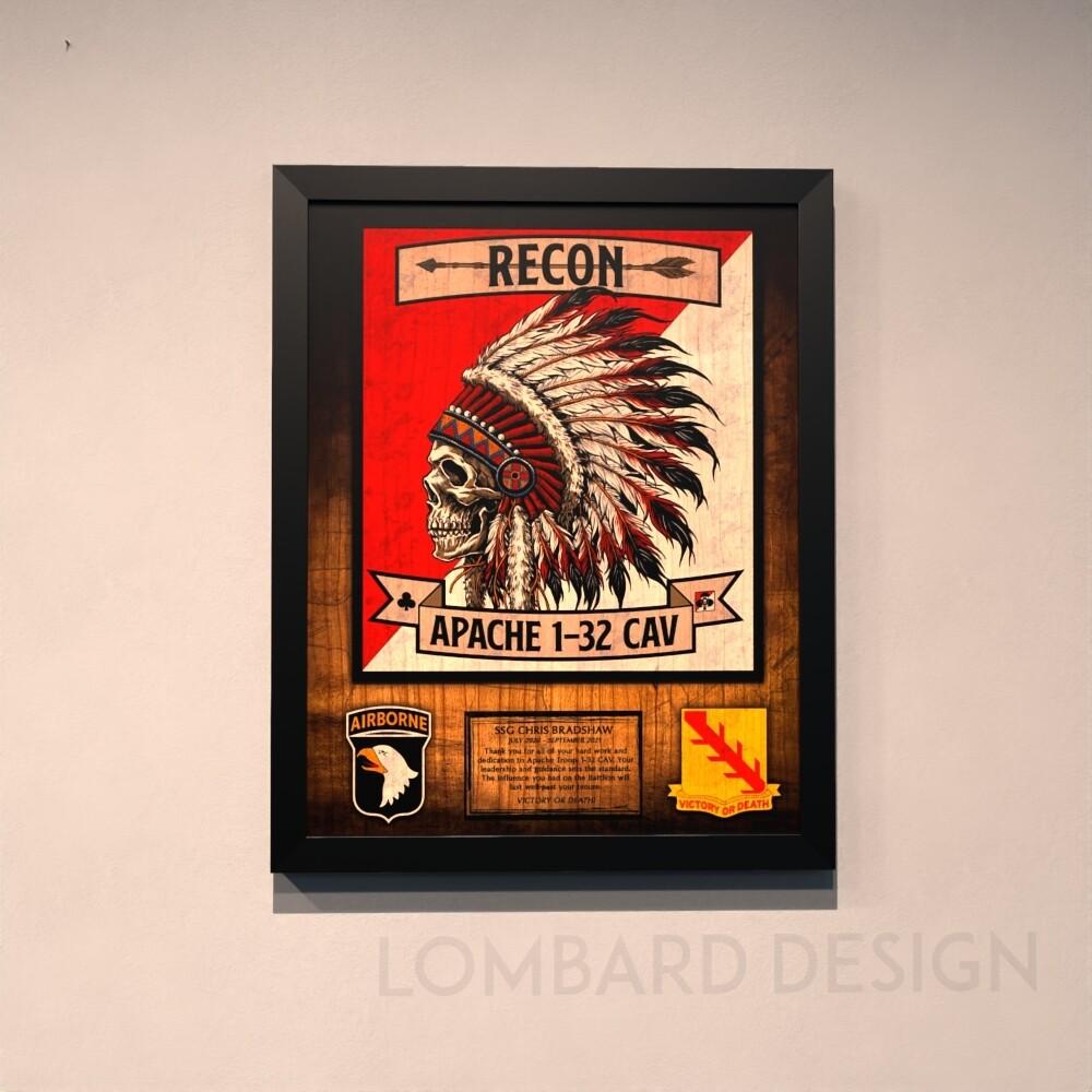 """A TRP """"Apache"""" 1-32 CAV Wood Plaque - 20.5""""x16.5"""""""