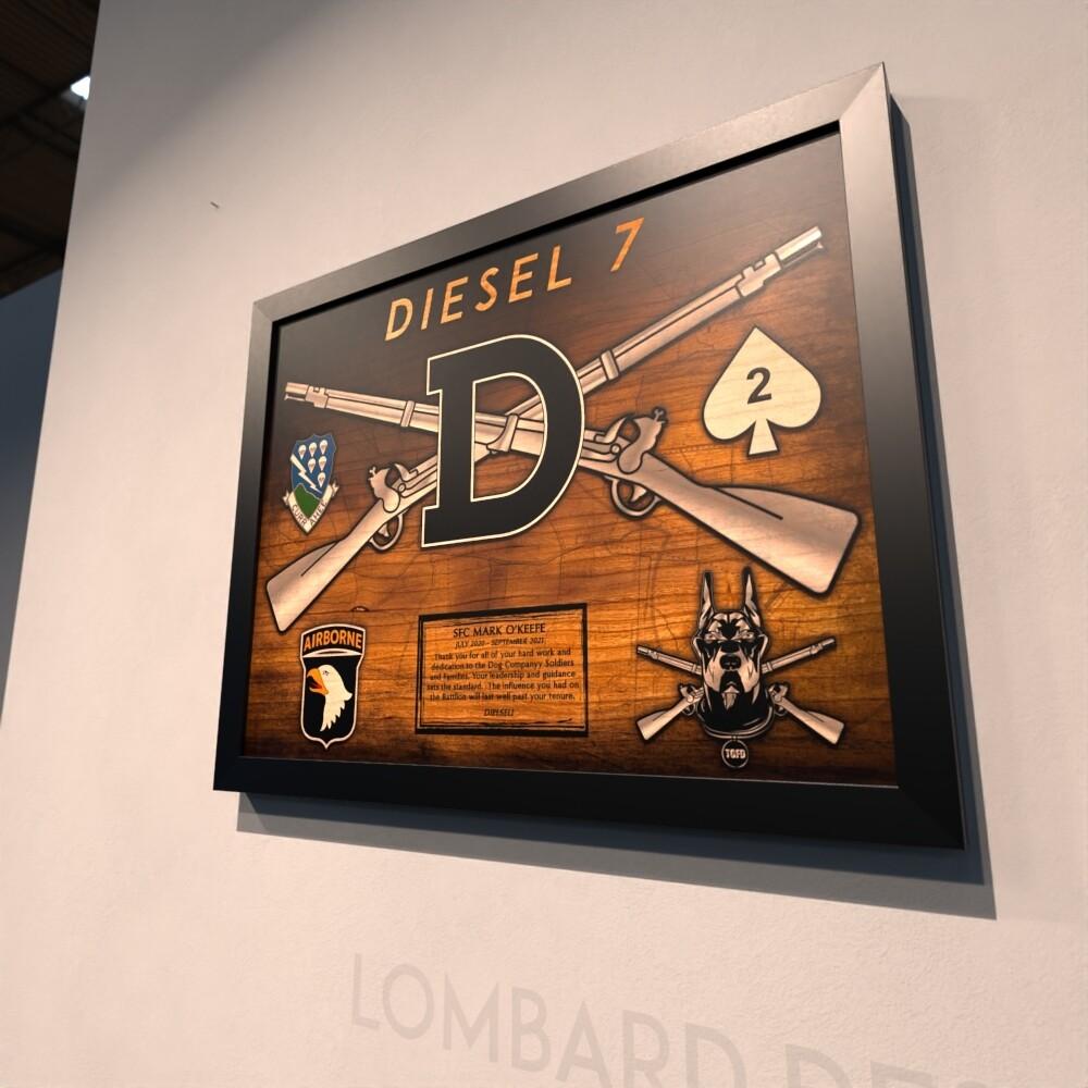 "DIESEL PLT, B Co ""Dog"" 2-506th Plaque - 20.5""x16.5"""