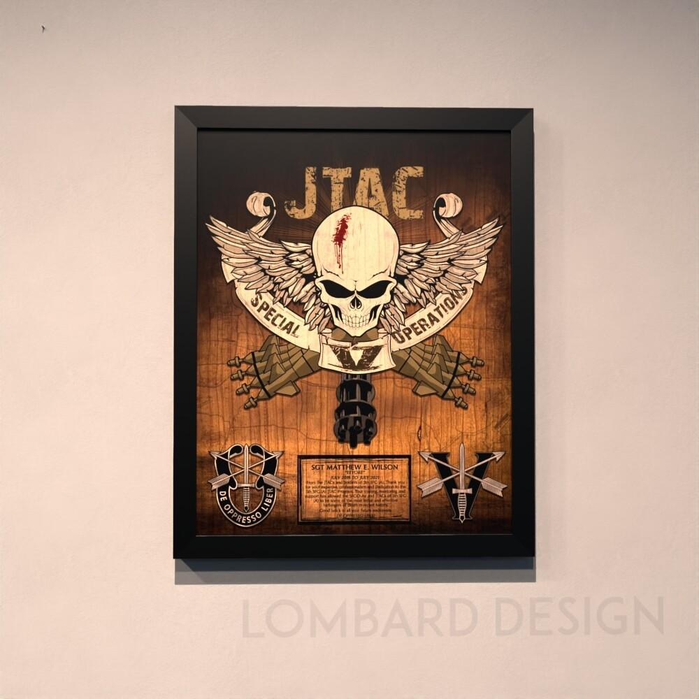 """5th SFG(A) JTAC Rustic Wood Plaque - 20.5""""x16.5"""""""