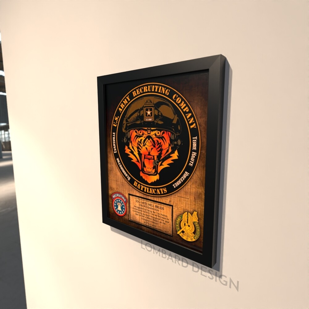 """US Army Recruiting Company """"Battlecats"""" Wood Plaque 11""""x13"""""""
