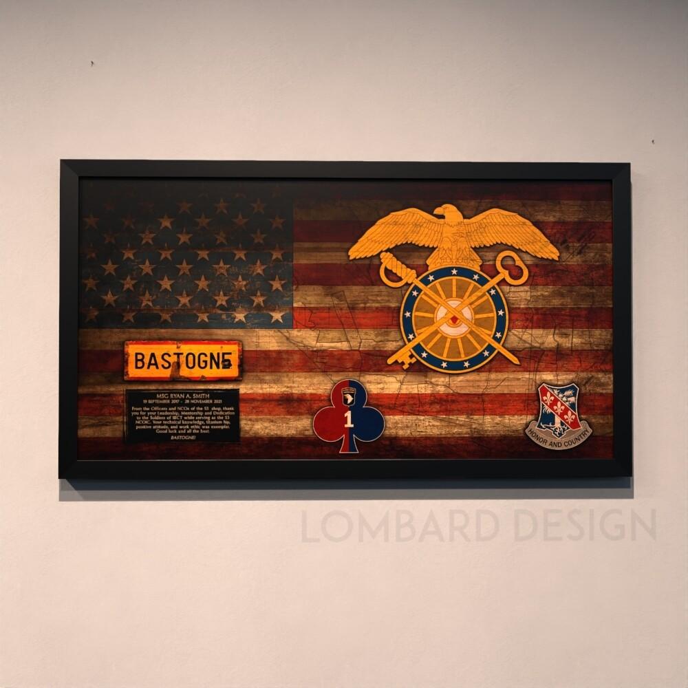 """1BCT Quartermaster Rustic Flag Plaque - 28.5""""x15.75"""""""