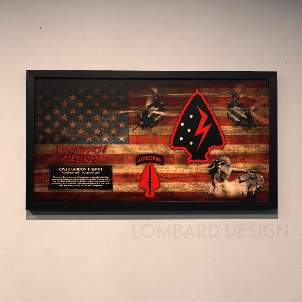 "Crazyhorse Airlines 2-160th SOAR(Abn) Rustic Flag Plaque - 28.5""x15.75"""