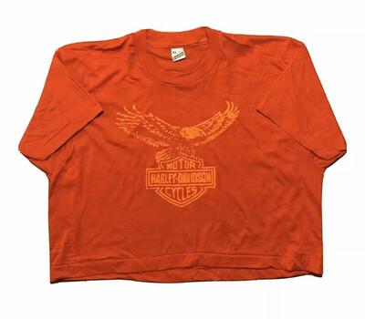 Classic Harley Davidson Print In Orange On Red Deadstock Screen Stars XL
