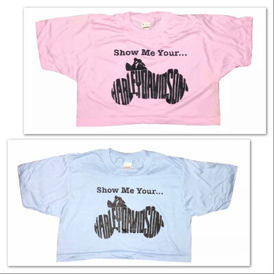 Show Me Your Harley Davidson In Black On Deadstock Screen Stars Crops