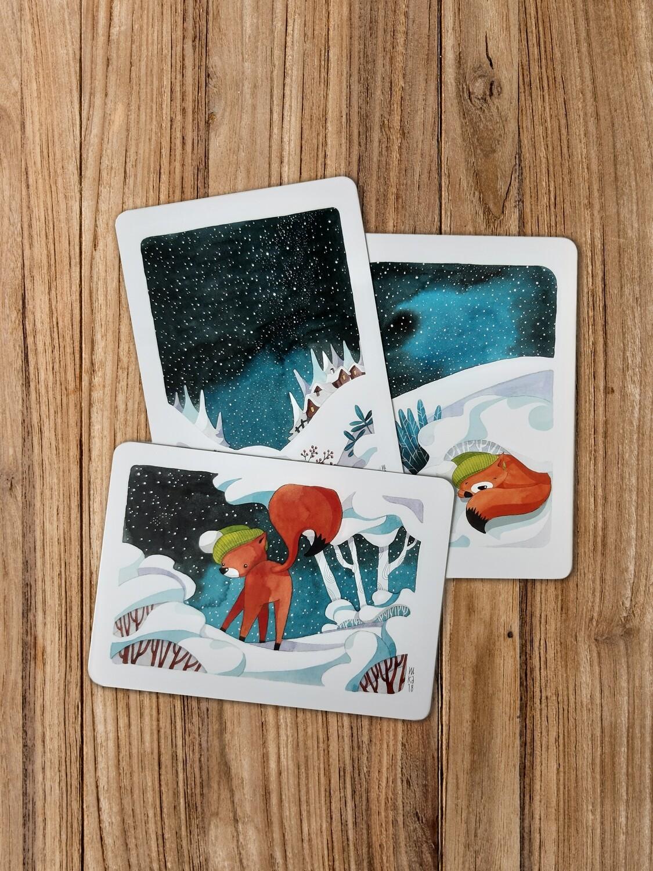 3er Set Winter-Postkarten