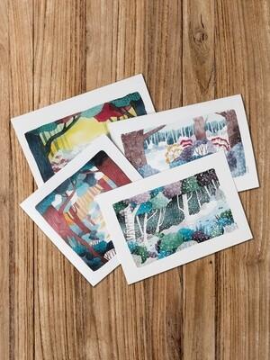 4er Set Post- und Grußkarten