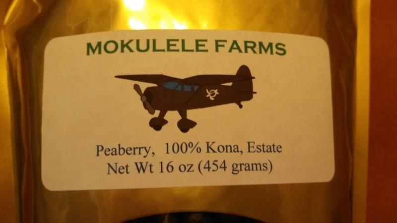 100% Kona, Estate, peaberry, Medium Roast