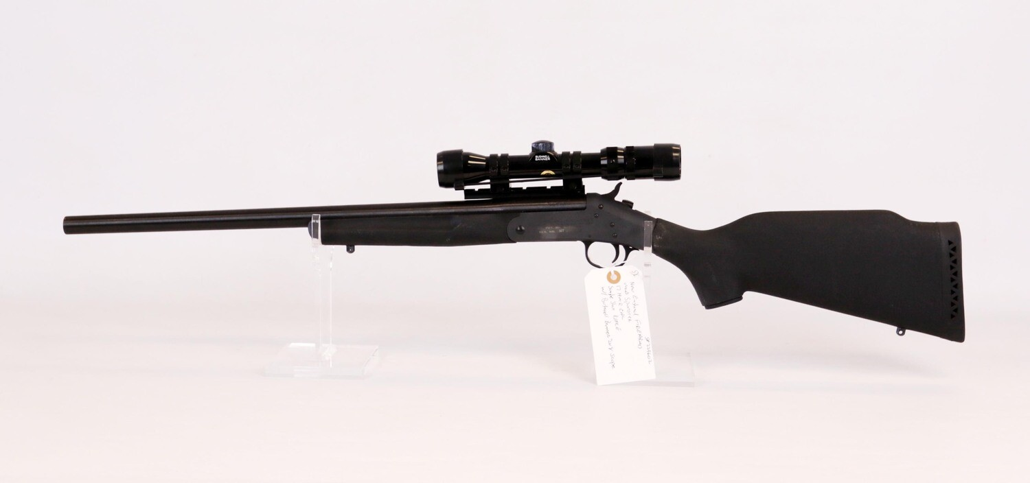 58 New England Firearms mod Sportster 17 HMR cal single shot rifle w/Bushnell Banner 2x8 scope ser# 229602