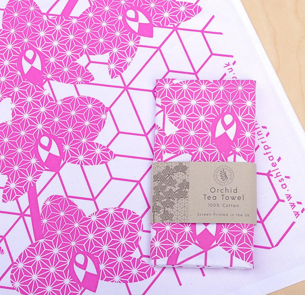 Orchid Tea towel