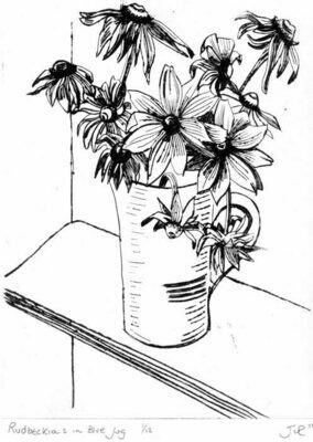Rudbeckias in a blue jug