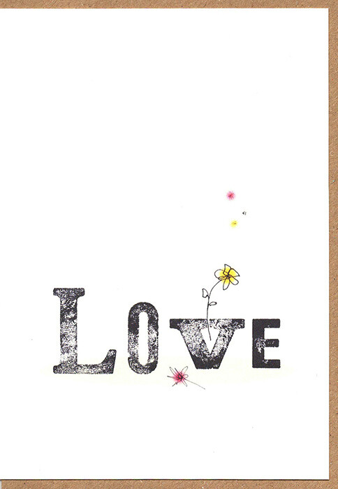 Love- Wooden type set Card.