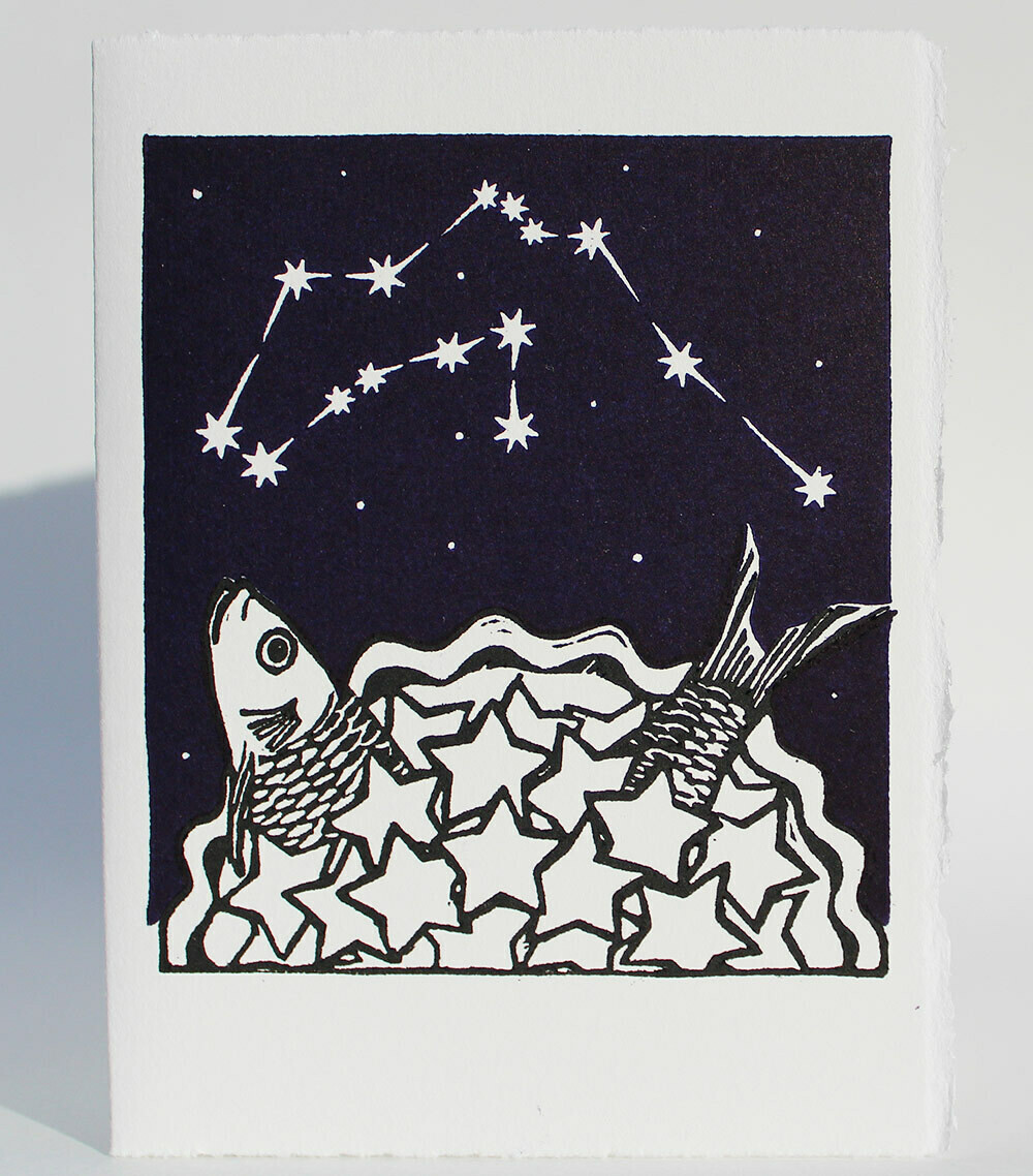 Aquarius Stargazey -Hand-Printed Card