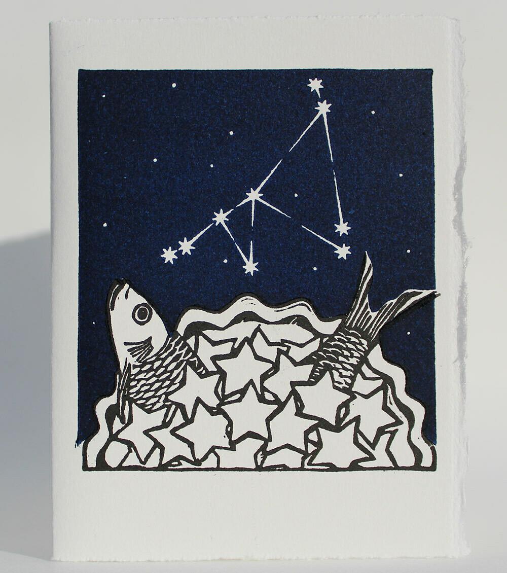 Capricorn Stargazey - Hand-printed Card