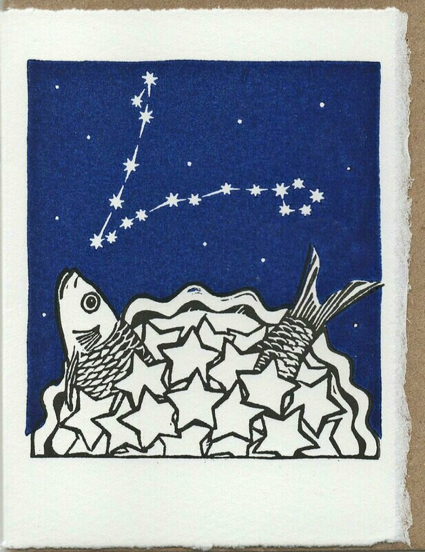Pisces Stargazey -Hand-printed Card
