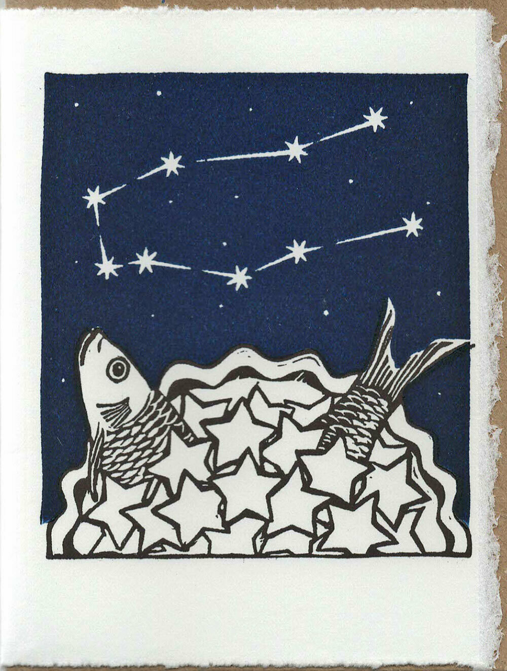 Gemini Stargazey- Hand-printed Card