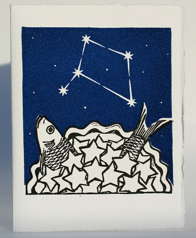 Libra Stargazey -Hand-printed card