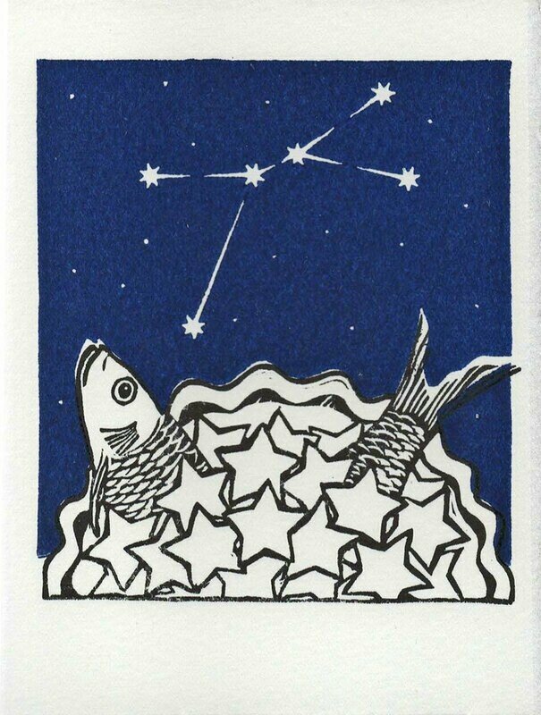 Cancer Stargazey -Hand-printed card
