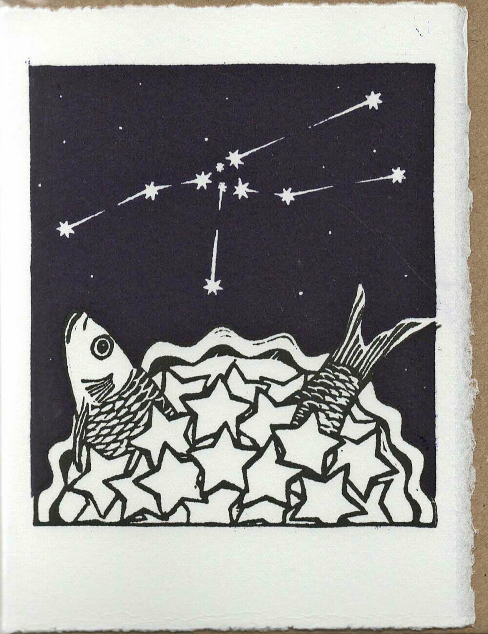 Taurus Stargazey - Hand-printed Card