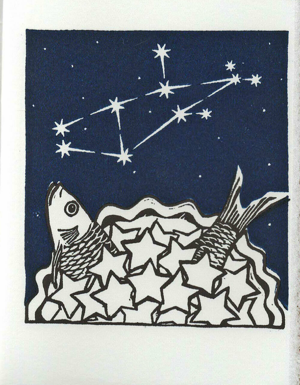 Virgo Stargazey -Hand printed card