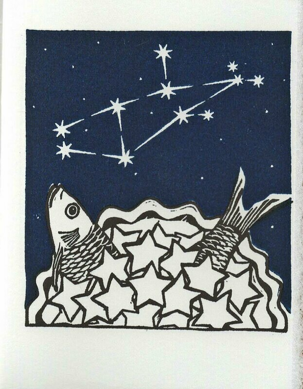Virgo Stargazey -Hand printed card