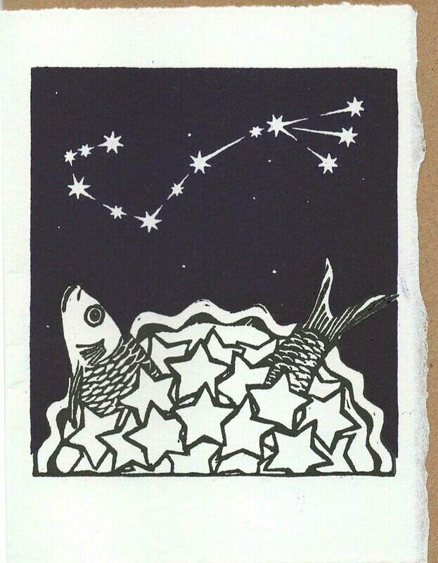 Scorpio Stargazey -Hand-printed card.