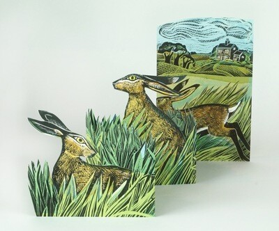 Hares In Open Field Concertina Card