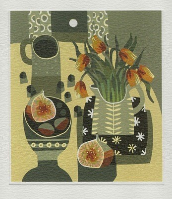 Tulips and Fig  -Printmakers Card