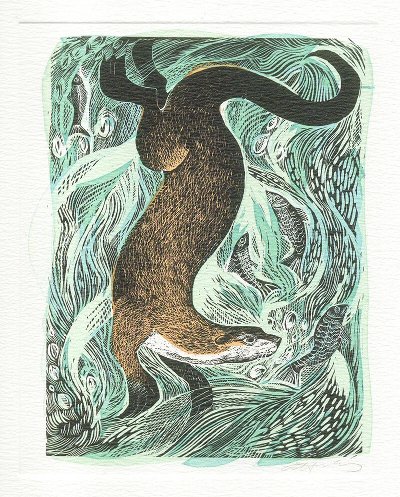 Fishing Otter - Printmakers Card