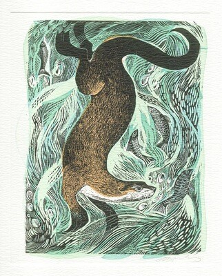 Fishing Otter - Printmakers Card