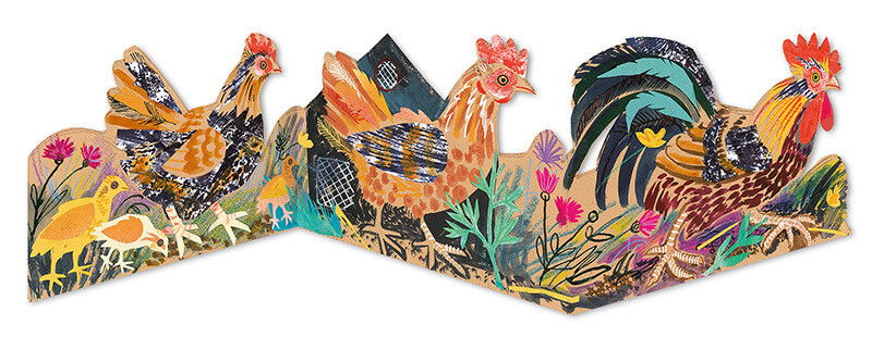 Chickens  - Concertina Card
