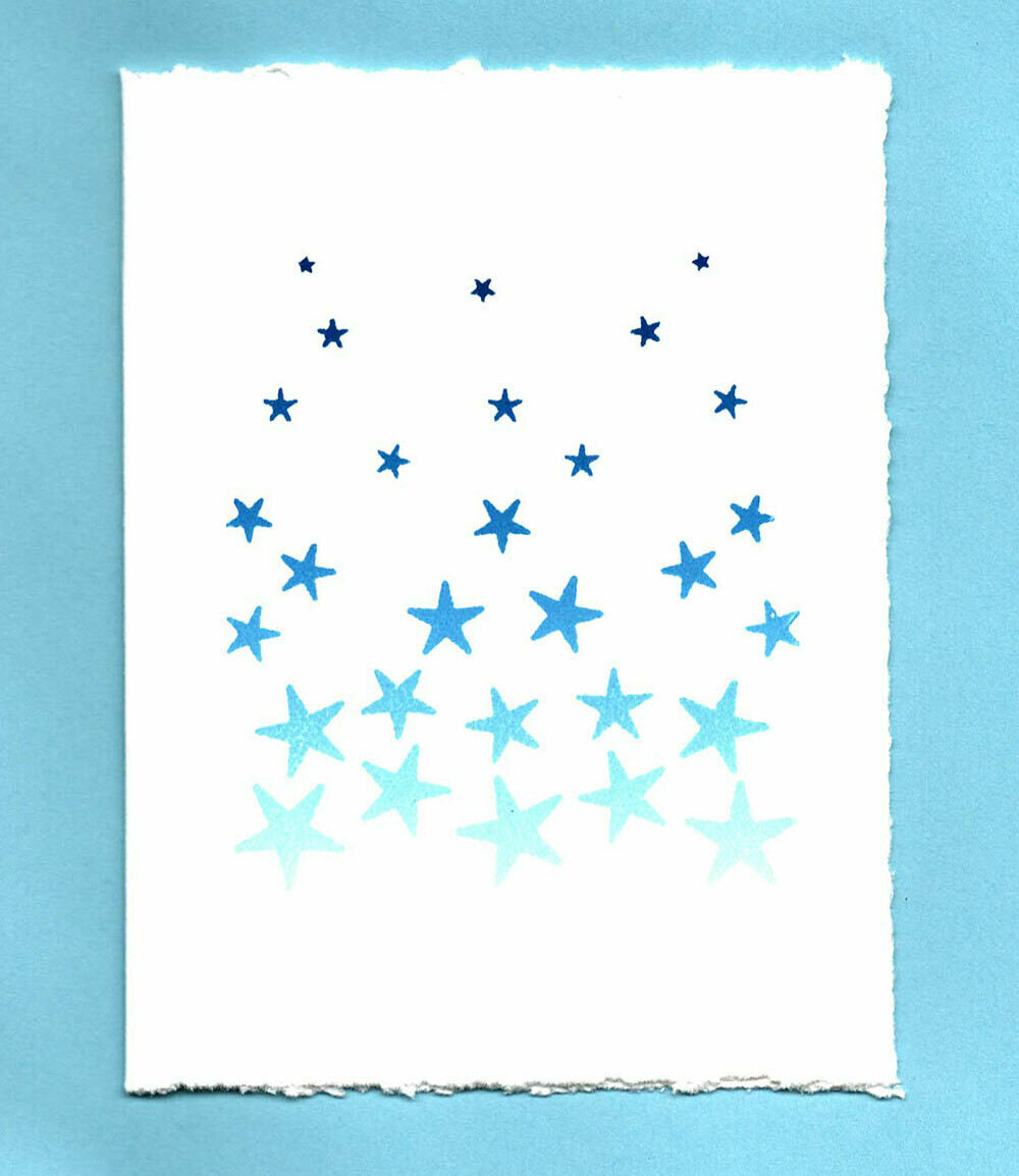 Snowfall Hand-printed Card