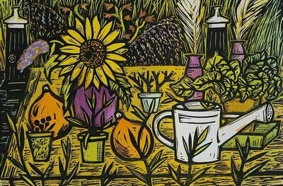 Gardeners table - Linocut