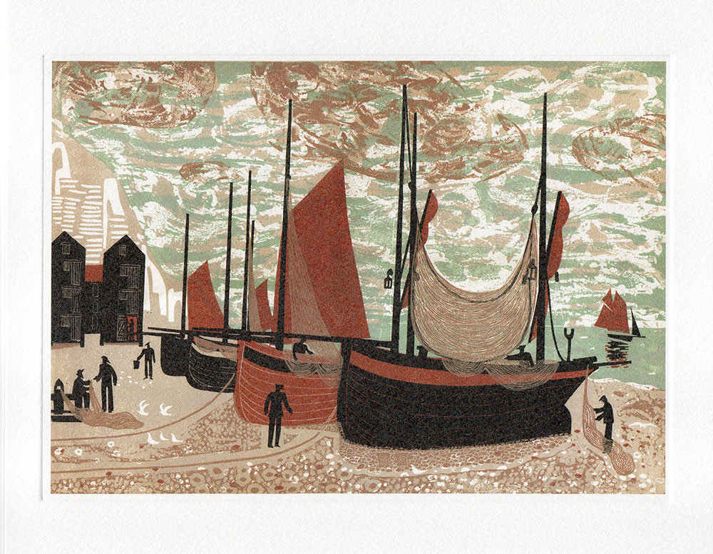 Boats on the beach at Hastings- Printmakers card