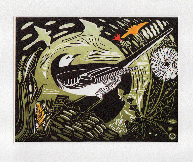 Pied Wagtail - Printmakers Art Card