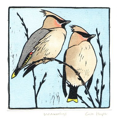 Waxwings- Printmakers Card