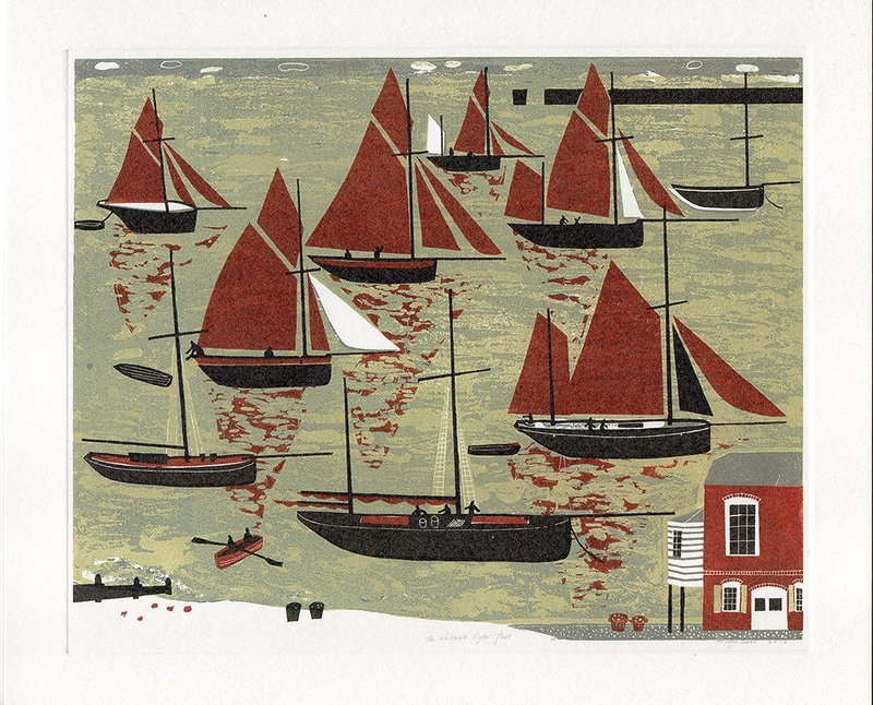 The Whitstable Oyster Fleet -printmakers card
