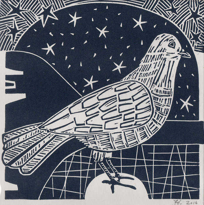 Winter Dove - Hand-Printed  Card