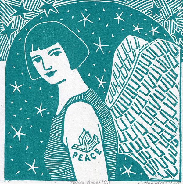 Tattoo Angel II- Hand printed  Card