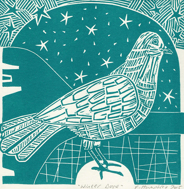 Winter Dove- Hand-printed  card