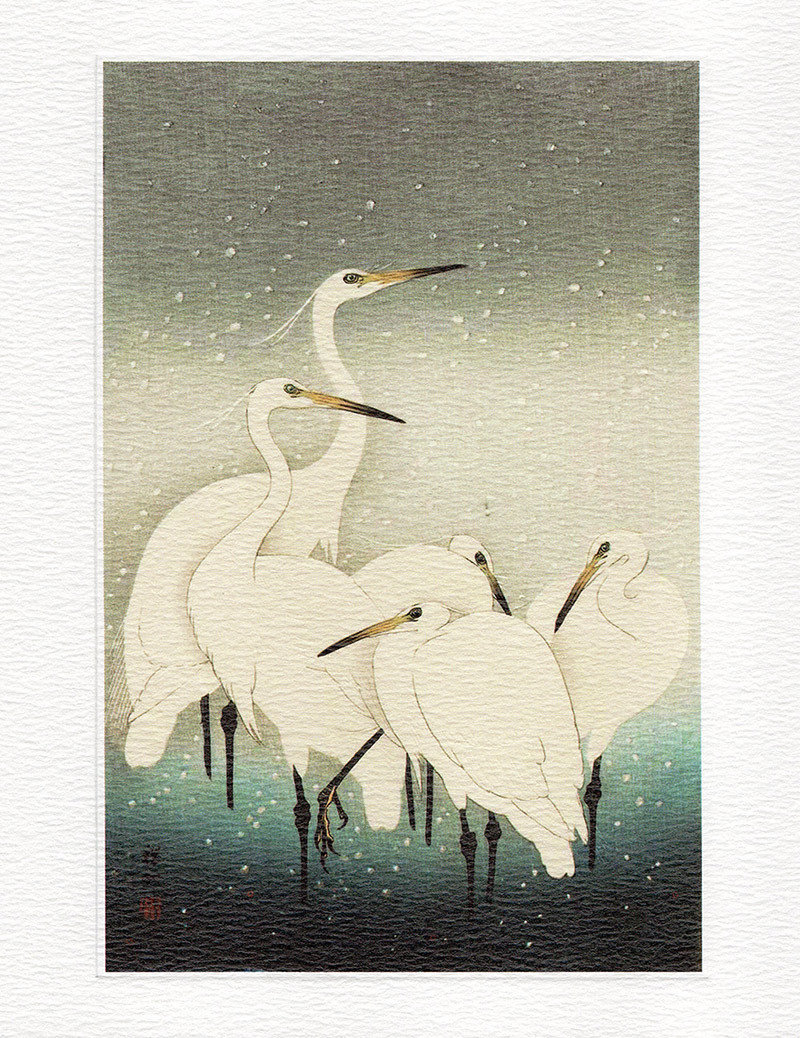 Herons in Snow- Winter printmakers Card
